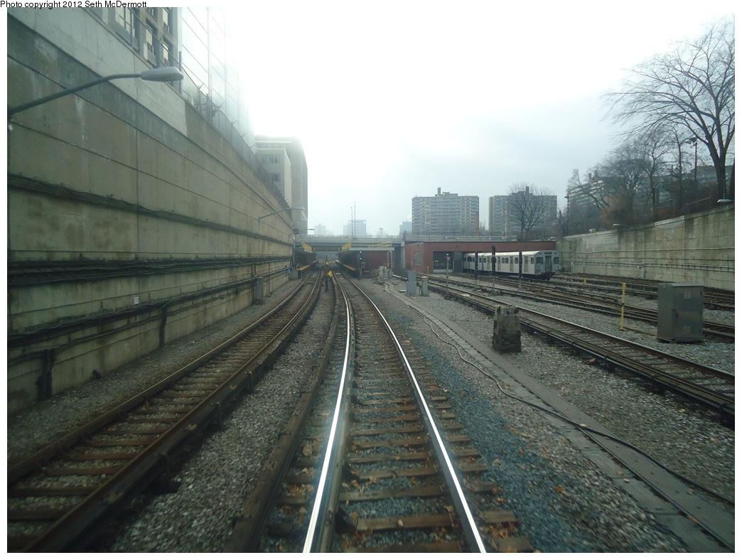 (305k, 1044x788)<br><b>Country:</b> Canada<br><b>City:</b> Toronto<br><b>System:</b> TTC<br><b>Line:</b> TTC Yonge-University-Spadina Subway<br><b>Location:</b> Davisville <br><b>Photo by:</b> Seth McDermott<br><b>Date:</b> 12/3/2012<br><b>Notes:</b> Yonge Line ROW north of Davisville, seen from the front window of car 5249 travelling southbound ... station and yard to the right<br><b>Viewed (this week/total):</b> 1 / 451