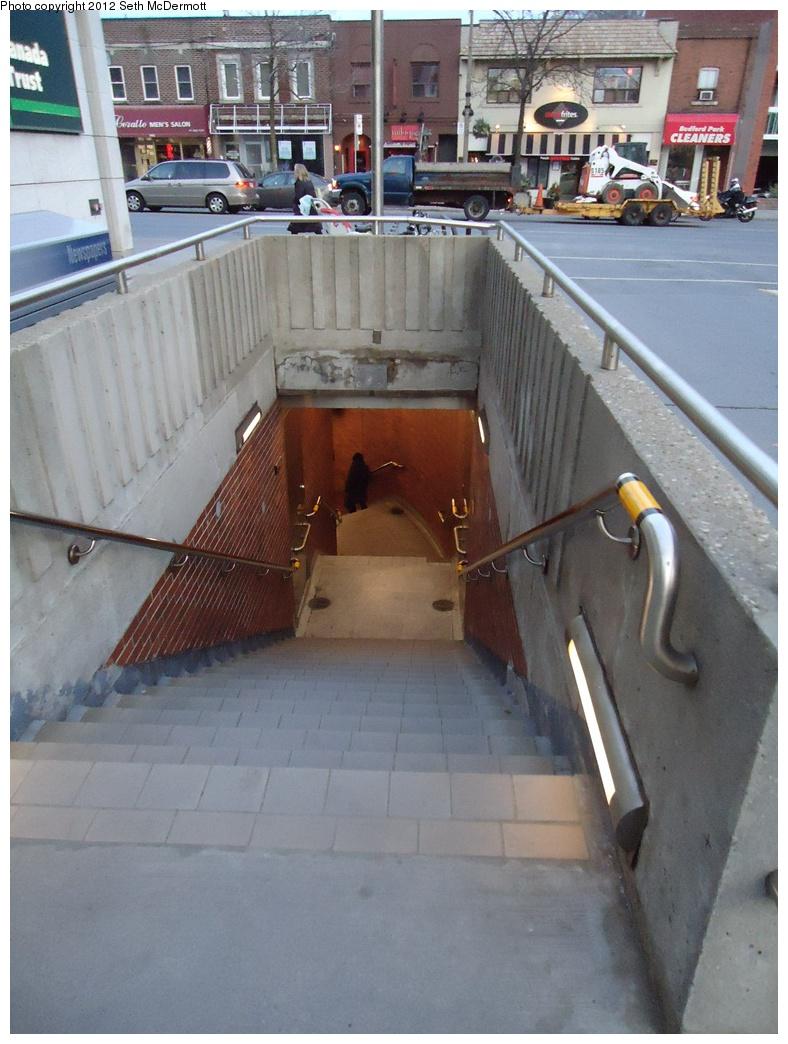 (299k, 788x1044)<br><b>Country:</b> Canada<br><b>City:</b> Toronto<br><b>System:</b> TTC<br><b>Line:</b> TTC Yonge-University-Spadina Subway<br><b>Location:</b> Lawrence <br><b>Photo by:</b> Seth McDermott<br><b>Date:</b> 12/6/2012<br><b>Notes:</b> Auxiliary entrance from Bedford Park Avenue ... view down the stairs<br><b>Viewed (this week/total):</b> 1 / 369