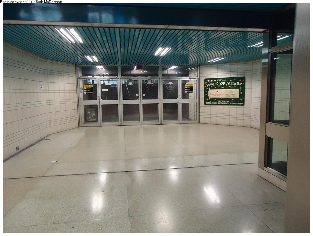 (299k, 1044x788)<br><b>Country:</b> Canada<br><b>City:</b> Toronto<br><b>System:</b> TTC<br><b>Line:</b> TTC Yonge-University-Spadina Subway<br><b>Location:</b> North York Centre <br><b>Photo by:</b> Seth McDermott<br><b>Date:</b> 12/3/2012<br><b>Notes:</b> Exit to the west side of Yonge Street<br><b>Viewed (this week/total):</b> 2 / 399