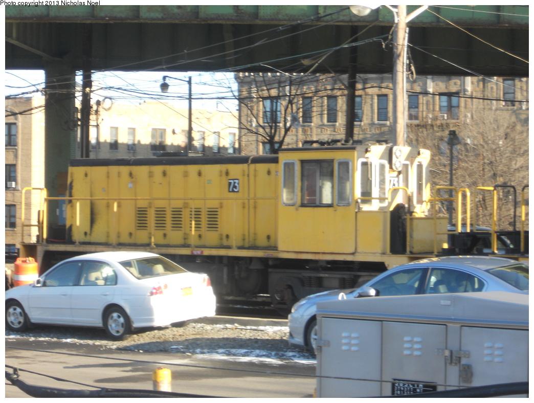 (351k, 1044x788)<br><b>Country:</b> United States<br><b>City:</b> New York<br><b>System:</b> New York City Transit<br><b>Line:</b> IRT White Plains Road Line<br><b>Location:</b> East 180th Street <br><b>Route:</b> Work Service<br><b>Car:</b> R-52 Locomotive  73 <br><b>Photo by:</b> Nicholas Noel<br><b>Date:</b> 12/30/2012<br><b>Notes:</b> De-icer train.<br><b>Viewed (this week/total):</b> 0 / 632
