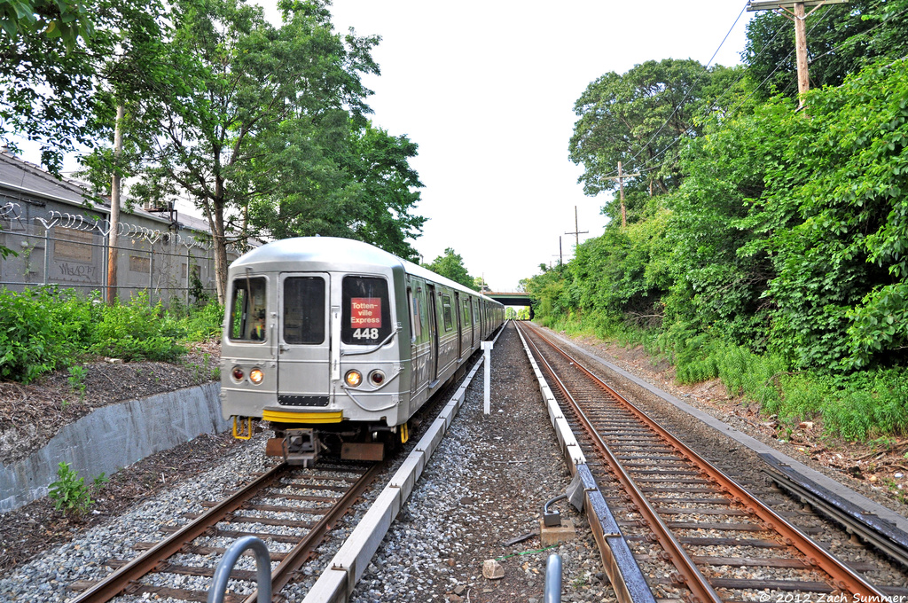 (609k, 1024x680)<br><b>Country:</b> United States<br><b>City:</b> New York<br><b>System:</b> New York City Transit<br><b>Line:</b> SIRT<br><b>Location:</b> Grasmere <br><b>Car:</b> R-44 SIRT (St. Louis, 1971-1973) 448 <br><b>Photo by:</b> Zach Summer<br><b>Date:</b> 6/14/2012<br><b>Notes:</b> Temporary platform.<br><b>Viewed (this week/total):</b> 2 / 1237