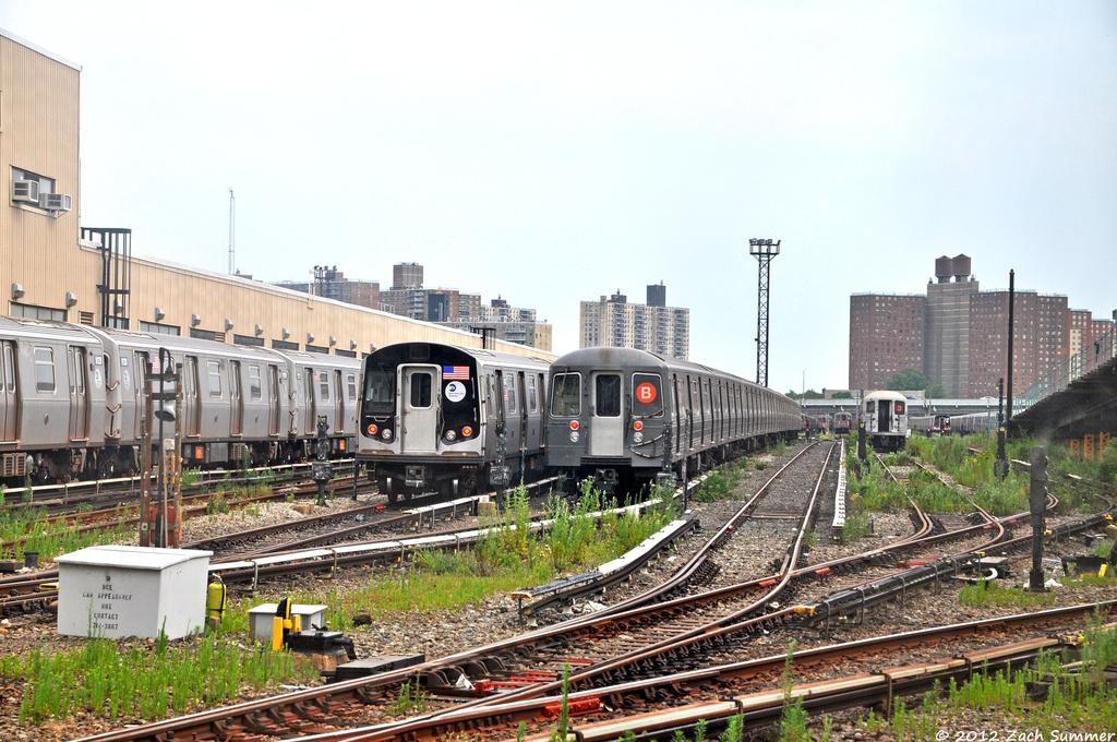 (420k, 1024x680)<br><b>Country:</b> United States<br><b>City:</b> New York<br><b>System:</b> New York City Transit<br><b>Location:</b> Coney Island Yard<br><b>Photo by:</b> Zach Summer<br><b>Date:</b> 7/7/2012<br><b>Notes:</b> R160 and R68A trains in Coney Island Yard<br><b>Viewed (this week/total):</b> 0 / 970