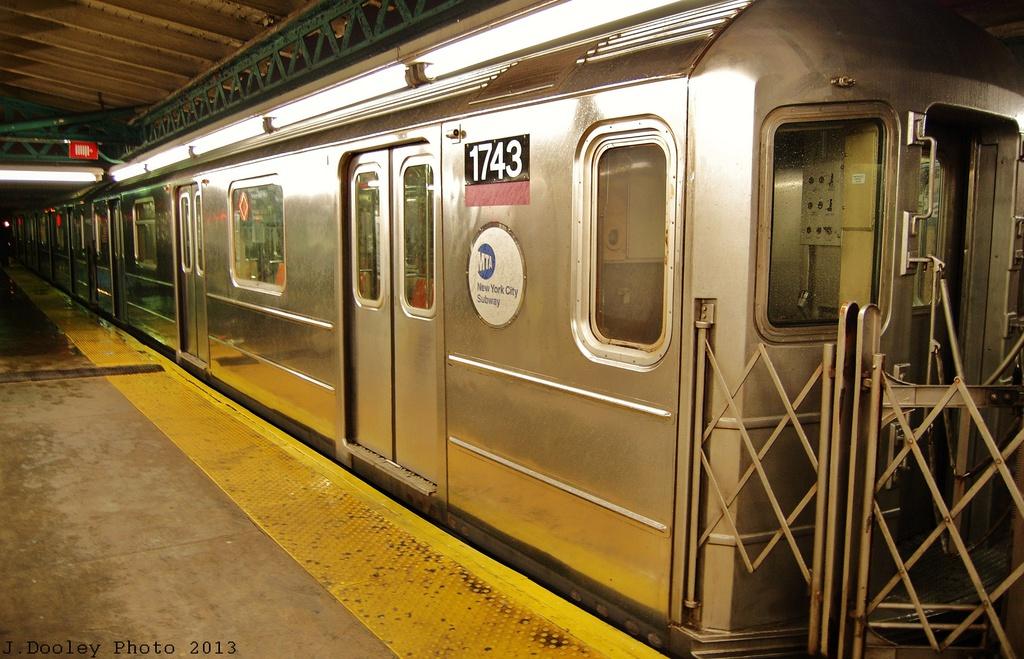 (337k, 1024x659)<br><b>Country:</b> United States<br><b>City:</b> New York<br><b>System:</b> New York City Transit<br><b>Line:</b> IRT Pelham Line<br><b>Location:</b> Pelham Bay Park <br><b>Route:</b> 6<br><b>Car:</b> R-62A (Bombardier, 1984-1987)  1743 <br><b>Photo by:</b> John Dooley<br><b>Date:</b> 1/11/2013<br><b>Viewed (this week/total):</b> 4 / 1170