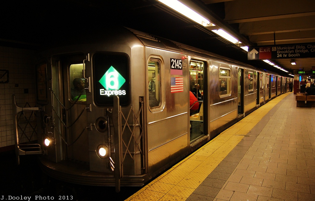 (280k, 1024x655)<br><b>Country:</b> United States<br><b>City:</b> New York<br><b>System:</b> New York City Transit<br><b>Line:</b> IRT East Side Line<br><b>Location:</b> Brooklyn Bridge/City Hall <br><b>Route:</b> 6<br><b>Car:</b> R-62A (Bombardier, 1984-1987)  2145 <br><b>Photo by:</b> John Dooley<br><b>Date:</b> 1/11/2013<br><b>Viewed (this week/total):</b> 0 / 1659