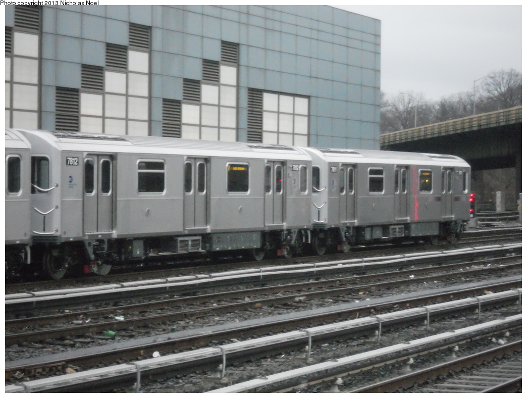 (346k, 1044x788)<br><b>Country:</b> United States<br><b>City:</b> New York<br><b>System:</b> New York City Transit<br><b>Location:</b> East 180th Street Yard<br><b>Car:</b> R-188 (Kawasaki, 2012-) 7812 <br><b>Photo by:</b> Nicholas Noel<br><b>Date:</b> 1/11/2013<br><b>Viewed (this week/total):</b> 5 / 1293