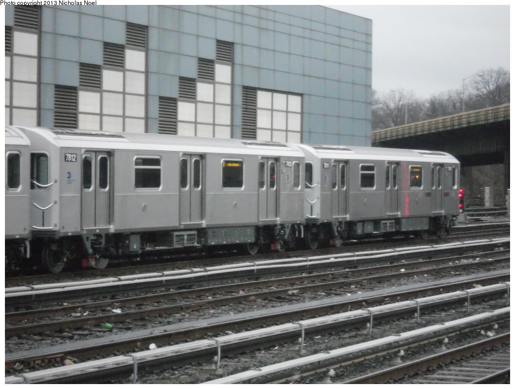 (346k, 1044x788)<br><b>Country:</b> United States<br><b>City:</b> New York<br><b>System:</b> New York City Transit<br><b>Location:</b> East 180th Street Yard<br><b>Car:</b> R-188 (Kawasaki, 2012-) 7812 <br><b>Photo by:</b> Nicholas Noel<br><b>Date:</b> 1/11/2013<br><b>Viewed (this week/total):</b> 2 / 1326