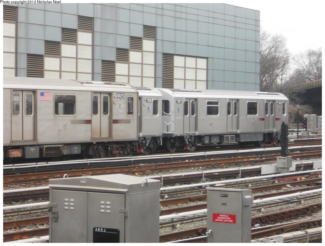 (353k, 1044x788)<br><b>Country:</b> United States<br><b>City:</b> New York<br><b>System:</b> New York City Transit<br><b>Location:</b> East 180th Street Yard<br><b>Car:</b> R-188 (Kawasaki, 2012-) 7811 <br><b>Photo by:</b> Nicholas Noel<br><b>Date:</b> 1/12/2013<br><b>Viewed (this week/total):</b> 0 / 1373