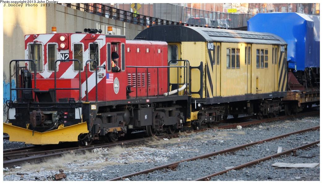 (337k, 1044x595)<br><b>Country:</b> United States<br><b>City:</b> New York<br><b>System:</b> New York City Transit<br><b>Line:</b> South Brooklyn Railway<br><b>Location:</b> 3rd Avenue/38th St Crossing (Gowanus) (SBK)<br><b>Route:</b> Work Service<br><b>Car:</b> R-47 (SBK) Locomotive  N2 <br><b>Photo by:</b> John Dooley<br><b>Date:</b> 2/6/2013<br><b>Notes:</b> Delivery of new R-156 OL913 locomotive.<br><b>Viewed (this week/total):</b> 2 / 920