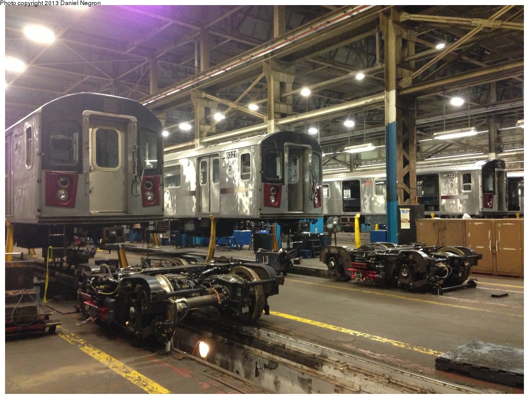 (346k, 1044x788)<br><b>Country:</b> United States<br><b>City:</b> New York<br><b>System:</b> New York City Transit<br><b>Location:</b> 207th Street Shop<br><b>Car:</b> R-142 (Primary Order, Bombardier, 1999-2002)  6321/7225 <br><b>Photo by:</b> Daniel Negron<br><b>Date:</b> 2/14/2013<br><b>Viewed (this week/total):</b> 0 / 881