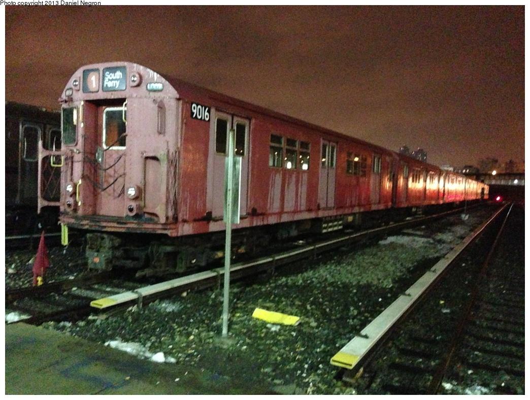(340k, 1044x788)<br><b>Country:</b> United States<br><b>City:</b> New York<br><b>System:</b> New York City Transit<br><b>Location:</b> 207th Street Yard<br><b>Car:</b> R-33 Main Line (St. Louis, 1962-63) 9016 <br><b>Photo by:</b> Daniel Negron<br><b>Date:</b> 2/14/2013<br><b>Viewed (this week/total):</b> 0 / 1392