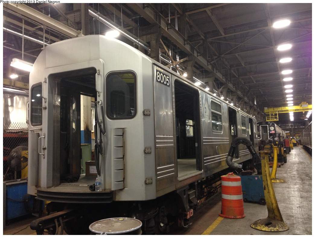(299k, 1044x788)<br><b>Country:</b> United States<br><b>City:</b> New York<br><b>System:</b> New York City Transit<br><b>Location:</b> 207th Street Shop<br><b>Car:</b> R-110A (Kawasaki, 1992) 8005 <br><b>Photo by:</b> Daniel Negron<br><b>Date:</b> 2/14/2013<br><b>Notes:</b> R-110A 8001-8005 is being prepped for conversion to new reach train (for flood cleanup).<br><b>Viewed (this week/total):</b> 0 / 1027