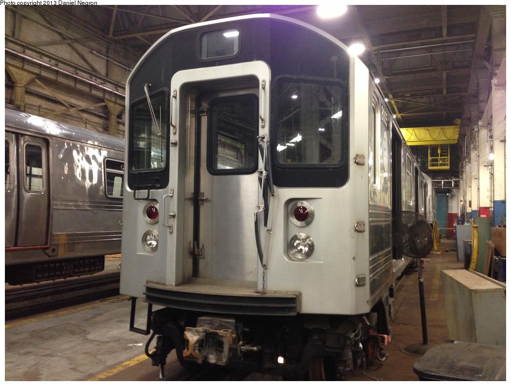 (290k, 1044x788)<br><b>Country:</b> United States<br><b>City:</b> New York<br><b>System:</b> New York City Transit<br><b>Location:</b> 207th Street Shop<br><b>Car:</b> R-110A (Kawasaki, 1992) 8005 <br><b>Photo by:</b> Daniel Negron<br><b>Date:</b> 2/14/2013<br><b>Notes:</b> R-110A 8001-8005 is being prepped for conversion to new reach train (for flood cleanup).<br><b>Viewed (this week/total):</b> 2 / 1394