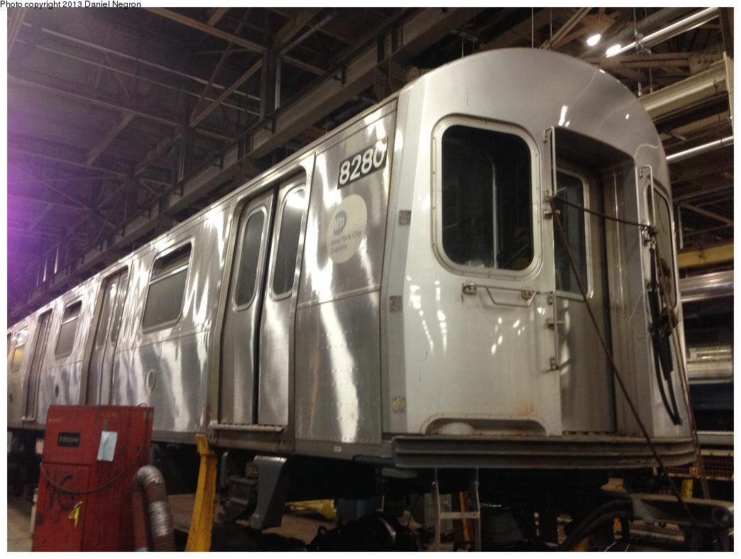 (261k, 1044x788)<br><b>Country:</b> United States<br><b>City:</b> New York<br><b>System:</b> New York City Transit<br><b>Location:</b> 207th Street Shop<br><b>Car:</b> R-143 (Kawasaki, 2001-2002) 8280 <br><b>Photo by:</b> Daniel Negron<br><b>Date:</b> 2/14/2013<br><b>Viewed (this week/total):</b> 0 / 1329
