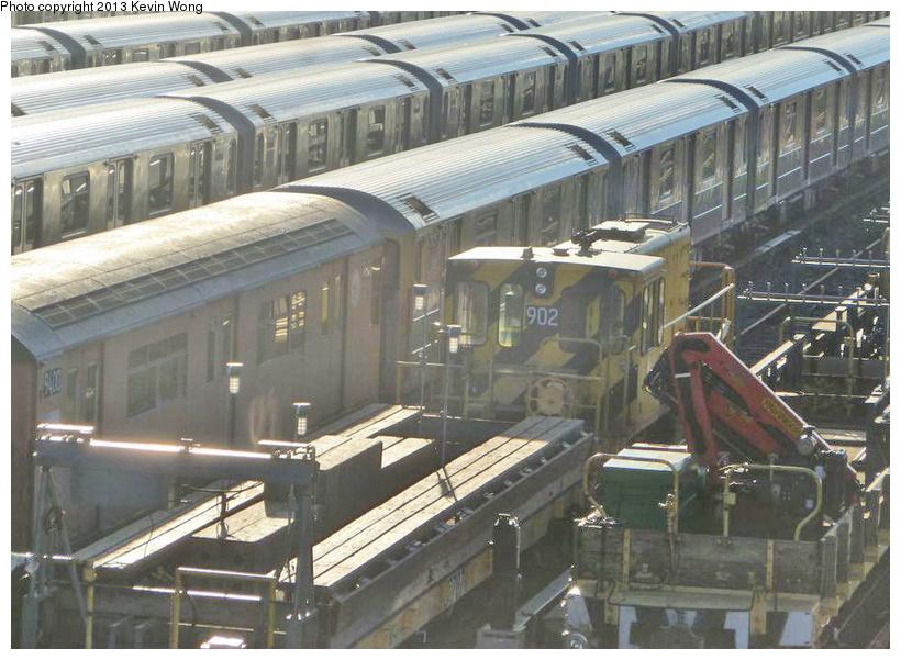 (248k, 820x601)<br><b>Country:</b> United States<br><b>City:</b> New York<br><b>System:</b> New York City Transit<br><b>Location:</b> Corona Yard<br><b>Car:</b> R-77 Locomotive  902 <br><b>Photo by:</b> Kevin Wong<br><b>Date:</b> 1/31/2013<br><b>Viewed (this week/total):</b> 1 / 841