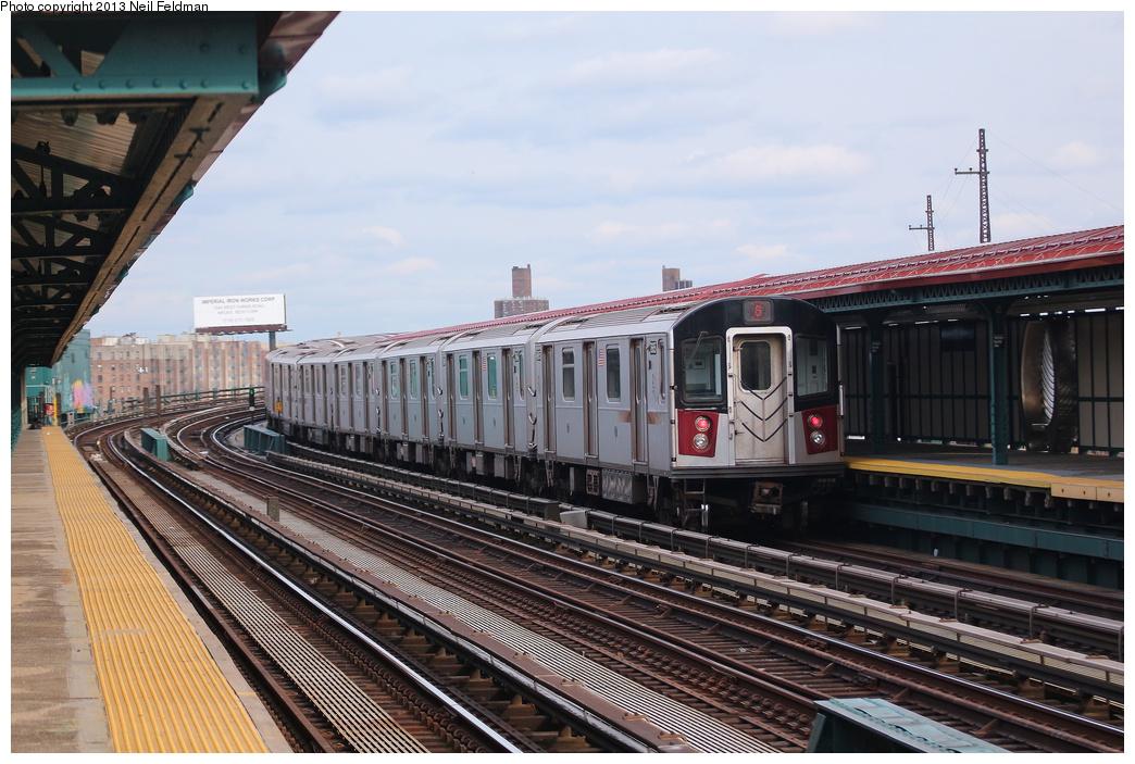 (324k, 1044x703)<br><b>Country:</b> United States<br><b>City:</b> New York<br><b>System:</b> New York City Transit<br><b>Line:</b> IRT Pelham Line<br><b>Location:</b> Whitlock Avenue <br><b>Route:</b> 6<br><b>Car:</b> R-142A (Option Order, Kawasaki, 2002-2003)  7665 <br><b>Photo by:</b> Neil Feldman<br><b>Date:</b> 2/1/2013<br><b>Viewed (this week/total):</b> 0 / 960