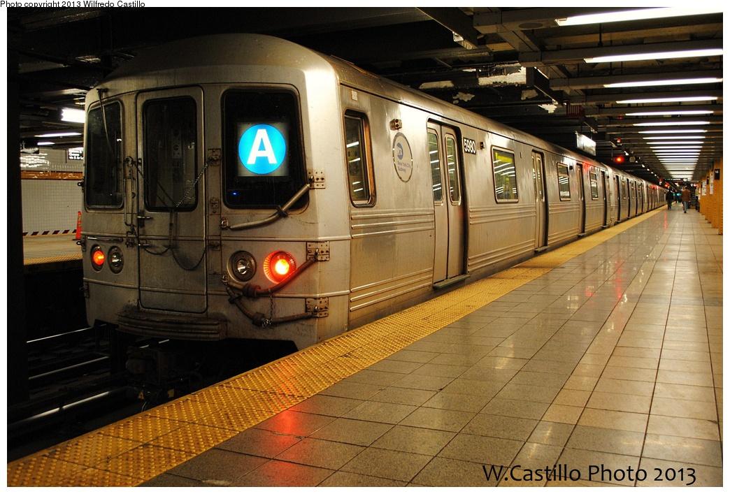(341k, 1044x707)<br><b>Country:</b> United States<br><b>City:</b> New York<br><b>System:</b> New York City Transit<br><b>Line:</b> IND 8th Avenue Line<br><b>Location:</b> 14th Street <br><b>Route:</b> A<br><b>Car:</b> R-46 (Pullman-Standard, 1974-75) 5980 <br><b>Photo by:</b> Wilfredo Castillo<br><b>Date:</b> 2/1/2013<br><b>Viewed (this week/total):</b> 1 / 772