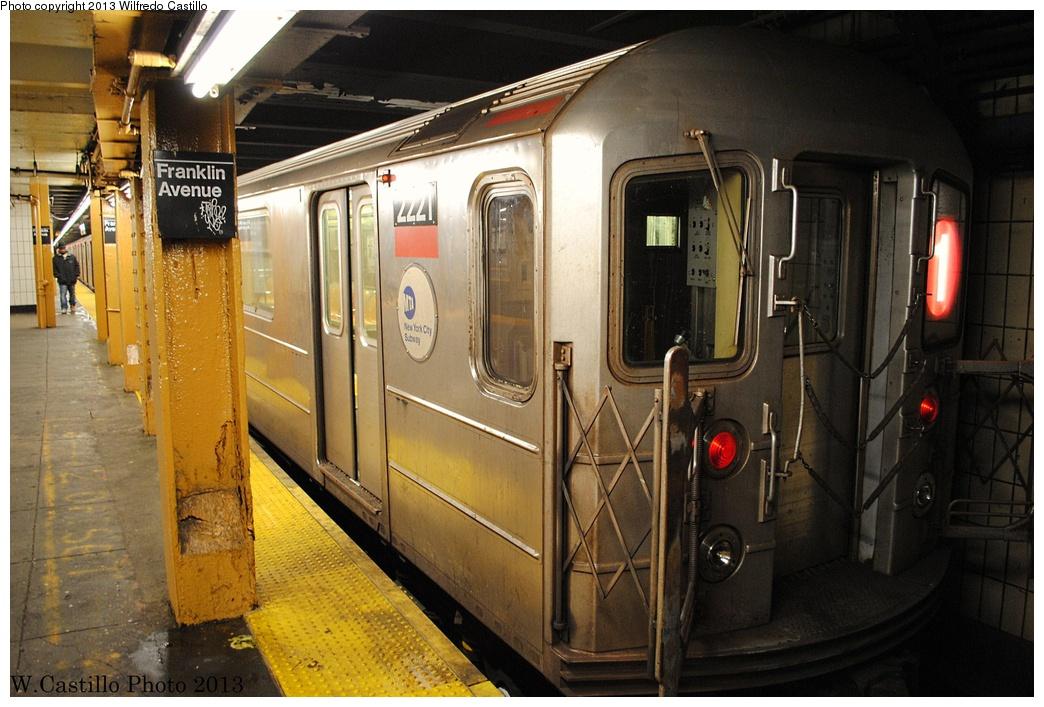 (321k, 1044x707)<br><b>Country:</b> United States<br><b>City:</b> New York<br><b>System:</b> New York City Transit<br><b>Line:</b> IRT Brooklyn Line<br><b>Location:</b> Franklin Avenue <br><b>Route:</b> 1 reroute<br><b>Car:</b> R-62A (Bombardier, 1984-1987)  2221 <br><b>Photo by:</b> Wilfredo Castillo<br><b>Date:</b> 2/23/2013<br><b>Viewed (this week/total):</b> 2 / 1486