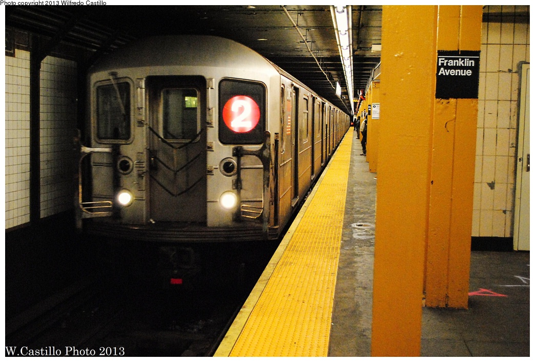 (330k, 1044x707)<br><b>Country:</b> United States<br><b>City:</b> New York<br><b>System:</b> New York City Transit<br><b>Line:</b> IRT Brooklyn Line<br><b>Location:</b> Franklin Avenue<br><b>Route:</b> 2<br><b>Car:</b> R-62A (Bombardier, 1984-1987) 2345 <br><b>Photo by:</b> Wilfredo Castillo<br><b>Date:</b> 2/23/2013<br><b>Viewed (this week/total):</b> 1 / 2885