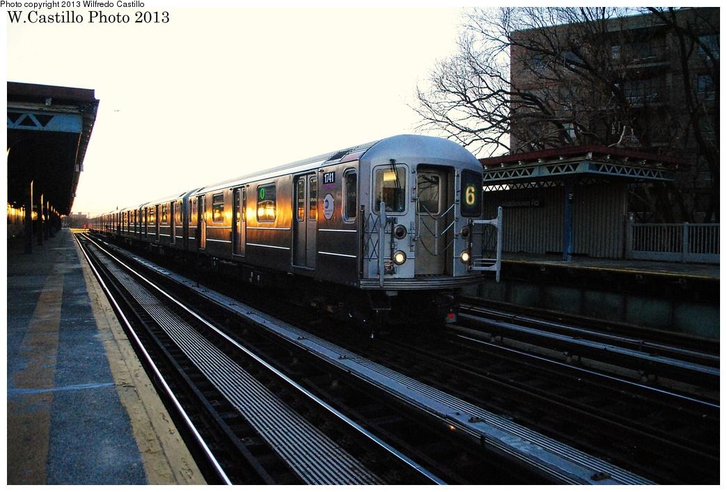 (318k, 1044x707)<br><b>Country:</b> United States<br><b>City:</b> New York<br><b>System:</b> New York City Transit<br><b>Line:</b> IRT Pelham Line<br><b>Location:</b> Middletown Road <br><b>Route:</b> 6<br><b>Car:</b> R-62A (Bombardier, 1984-1987)  1741 <br><b>Photo by:</b> Wilfredo Castillo<br><b>Date:</b> 1/10/2013<br><b>Viewed (this week/total):</b> 1 / 1135