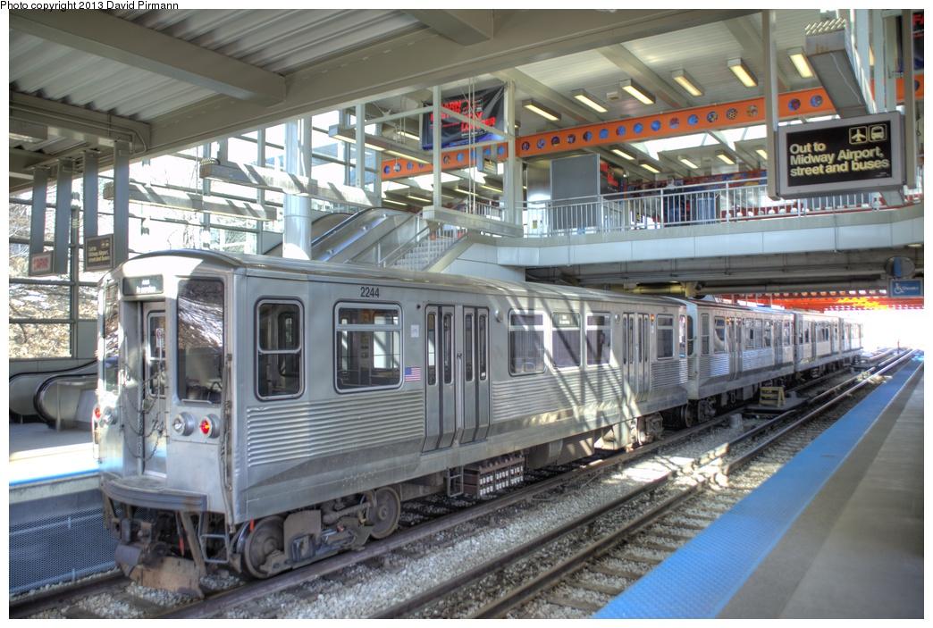 (307k, 1044x703)<br><b>Country:</b> United States<br><b>City:</b> Chicago, IL<br><b>System:</b> Chicago Transit Authority<br><b>Line:</b> CTA Orange (Midway)<br><b>Location:</b> Midway<br><b>Route:</b> Fan Trip<br><b>Car:</b> CTA 2200 Series 2244 <br><b>Photo by:</b> David Pirmann<br><b>Date:</b> 3/3/2013<br><b>Viewed (this week/total):</b> 0 / 938