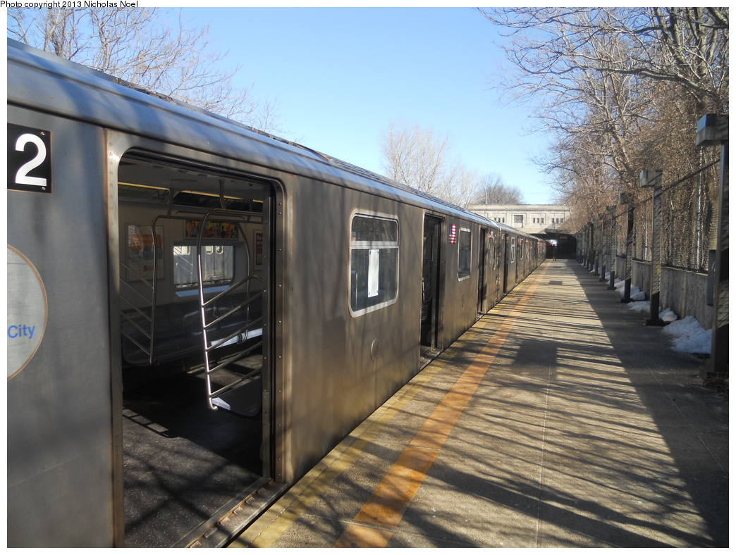 (407k, 1044x788)<br><b>Country:</b> United States<br><b>City:</b> New York<br><b>System:</b> New York City Transit<br><b>Line:</b> IRT Dyre Ave. Line<br><b>Location:</b> Gun Hill Road <br><b>Route:</b> 5<br><b>Car:</b> R-142 or R-142A (Number Unknown)  <br><b>Photo by:</b> Nicholas Noel<br><b>Date:</b> 2/18/2013<br><b>Viewed (this week/total):</b> 0 / 1175