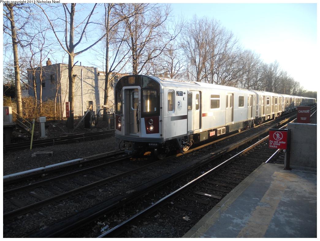 (448k, 1044x788)<br><b>Country:</b> United States<br><b>City:</b> New York<br><b>System:</b> New York City Transit<br><b>Line:</b> IRT Dyre Ave. Line<br><b>Location:</b> Gun Hill Road <br><b>Route:</b> Testing<br><b>Car:</b> R-188 (Kawasaki, 2012-) 7811 <br><b>Photo by:</b> Nicholas Noel<br><b>Date:</b> 2/21/2013<br><b>Viewed (this week/total):</b> 2 / 1438