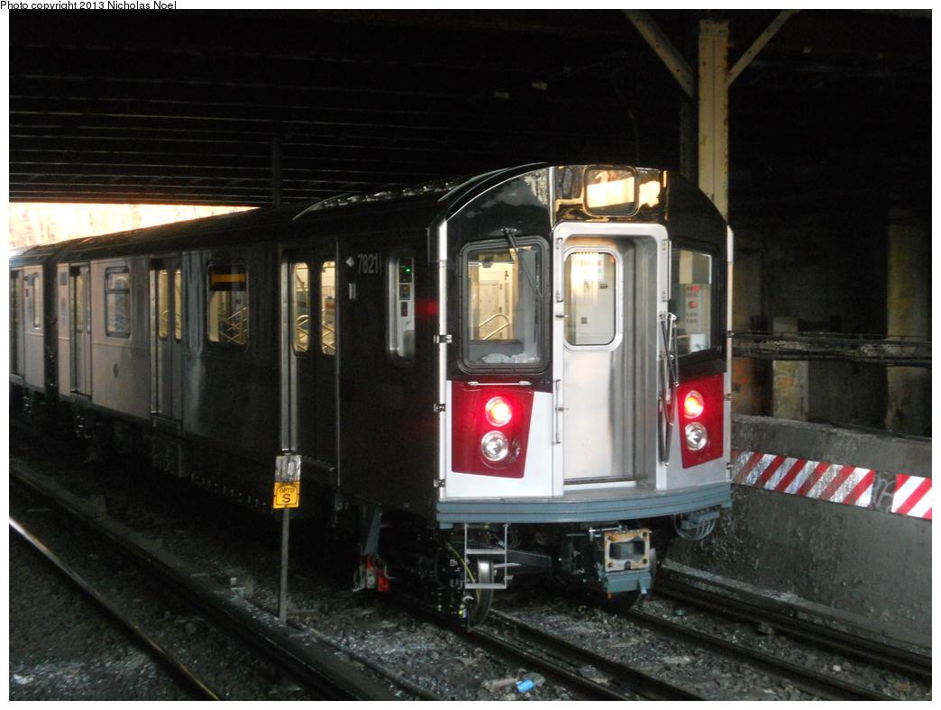 (356k, 1044x788)<br><b>Country:</b> United States<br><b>City:</b> New York<br><b>System:</b> New York City Transit<br><b>Line:</b> IRT Dyre Ave. Line<br><b>Location:</b> Gun Hill Road <br><b>Route:</b> Testing<br><b>Car:</b> R-188 (Kawasaki, 2012-) 7821 <br><b>Photo by:</b> Nicholas Noel<br><b>Date:</b> 2/21/2013<br><b>Viewed (this week/total):</b> 1 / 1521