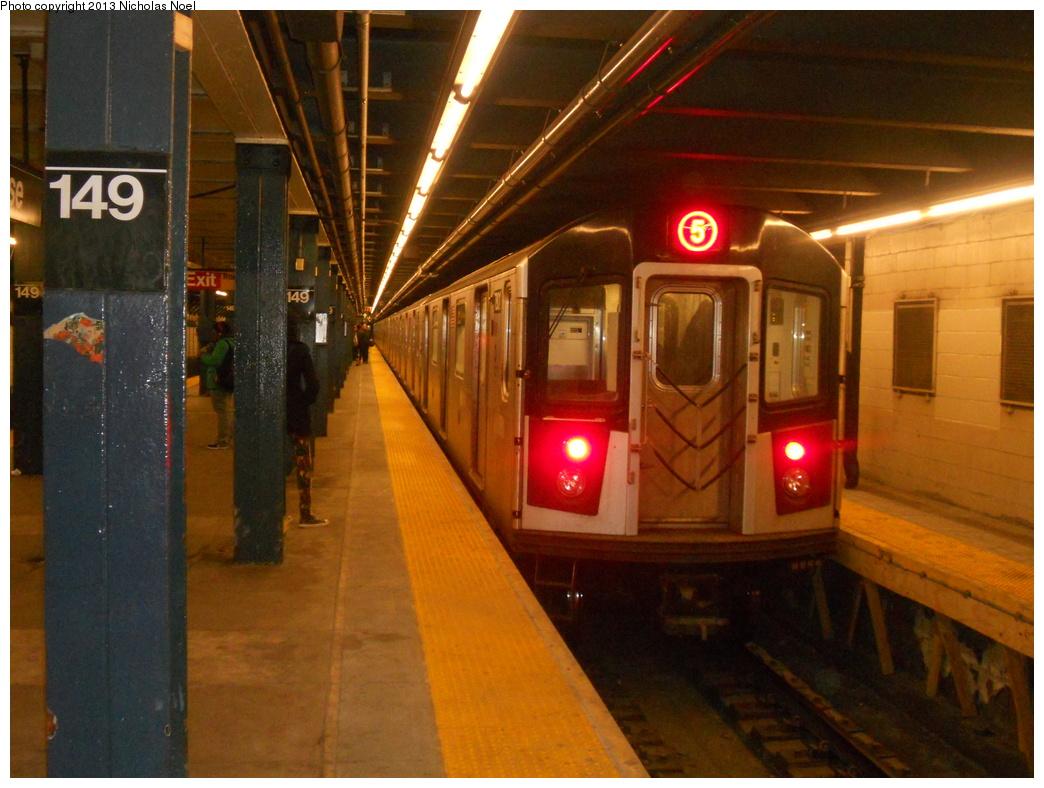 (373k, 1044x788)<br><b>Country:</b> United States<br><b>City:</b> New York<br><b>System:</b> New York City Transit<br><b>Line:</b> IRT White Plains Road Line<br><b>Location:</b> 149th Street/Grand Concourse (Mott Avenue) <br><b>Route:</b> 5<br><b>Car:</b> R-142 or R-142A (Number Unknown)  <br><b>Photo by:</b> Nicholas Noel<br><b>Date:</b> 3/2/2013<br><b>Viewed (this week/total):</b> 3 / 1787