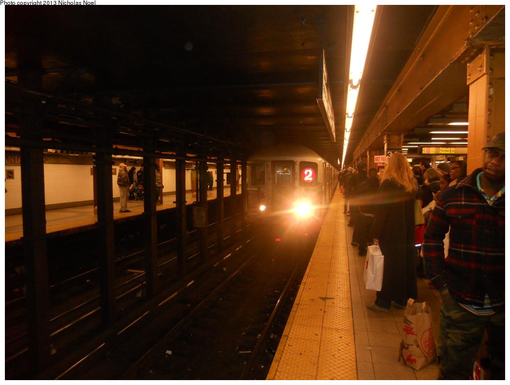 (310k, 1044x788)<br><b>Country:</b> United States<br><b>City:</b> New York<br><b>System:</b> New York City Transit<br><b>Line:</b> IRT West Side Line<br><b>Location:</b> 34th Street/Penn Station <br><b>Route:</b> 2<br><b>Car:</b> R-62A (Bombardier, 1984-1987)  2355 <br><b>Photo by:</b> Nicholas Noel<br><b>Date:</b> 3/2/2013<br><b>Viewed (this week/total):</b> 1 / 1180