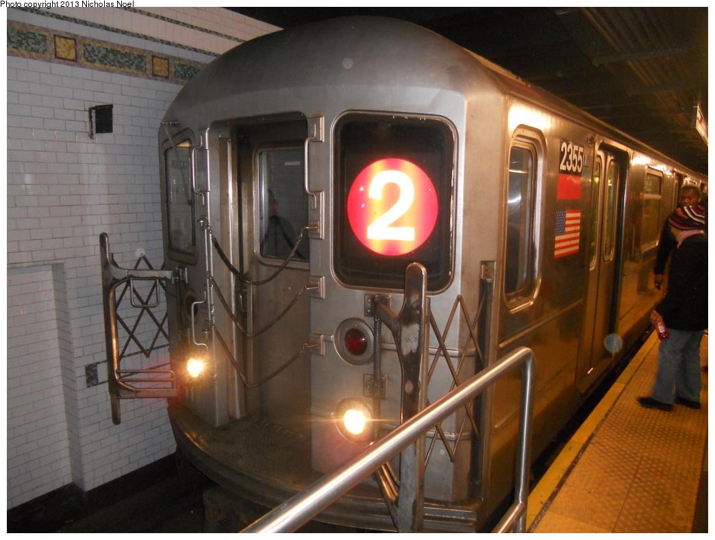 (352k, 1044x788)<br><b>Country:</b> United States<br><b>City:</b> New York<br><b>System:</b> New York City Transit<br><b>Line:</b> IRT West Side Line<br><b>Location:</b> 96th Street <br><b>Route:</b> 2<br><b>Car:</b> R-62A (Bombardier, 1984-1987)  2355 <br><b>Photo by:</b> Nicholas Noel<br><b>Date:</b> 3/2/2013<br><b>Viewed (this week/total):</b> 2 / 1484