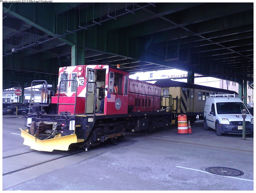 (280k, 1044x788)<br><b>Country:</b> United States<br><b>City:</b> New York<br><b>System:</b> New York City Transit<br><b>Line:</b> South Brooklyn Railway<br><b>Location:</b> 3rd Avenue/38th St Crossing (Gowanus) (SBK)<br><b>Car:</b> R-47 (SBK) Locomotive  N2 <br><b>Photo by:</b> Michael Hodurski<br><b>Date:</b> 2/7/2013<br><b>Viewed (this week/total):</b> 8 / 982