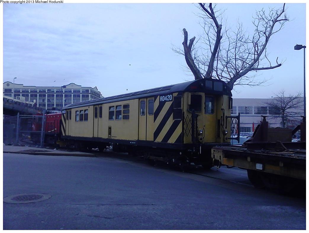 (251k, 1044x788)<br><b>Country:</b> United States<br><b>City:</b> New York<br><b>System:</b> New York City Transit<br><b>Line:</b> South Brooklyn Railway<br><b>Location:</b> 3rd Avenue/38th St Crossing (Gowanus) (SBK)<br><b>Car:</b> R-161 Rider Car (ex-R-33)  RD420 <br><b>Photo by:</b> Michael Hodurski<br><b>Date:</b> 2/7/2013<br><b>Viewed (this week/total):</b> 5 / 975