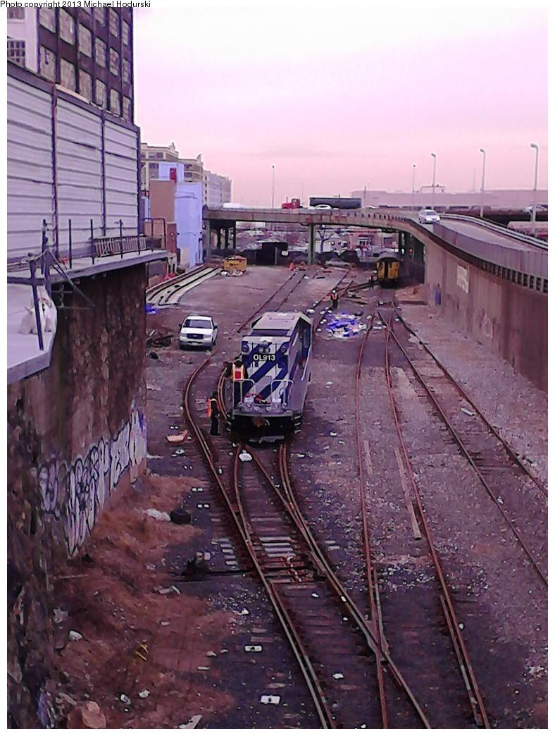 (322k, 788x1044)<br><b>Country:</b> United States<br><b>City:</b> New York<br><b>System:</b> New York City Transit<br><b>Line:</b> South Brooklyn Railway<br><b>Location:</b> SBK Yard (2nd Ave at 38th St.) (SBK)<br><b>Car:</b> R-156 Diesel-Electric Locomotive (MPI, 2012-2013) 913 <br><b>Photo by:</b> Michael Hodurski<br><b>Date:</b> 2/7/2013<br><b>Viewed (this week/total):</b> 0 / 1340