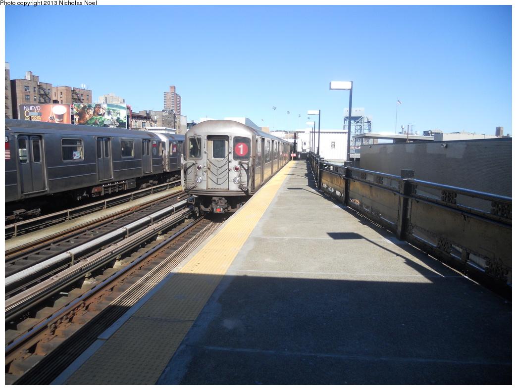 (355k, 1044x788)<br><b>Country:</b> United States<br><b>City:</b> New York<br><b>System:</b> New York City Transit<br><b>Line:</b> IRT West Side Line<br><b>Location:</b> 215th Street <br><b>Route:</b> 1<br><b>Car:</b> R-62A (Bombardier, 1984-1987)   <br><b>Photo by:</b> Nicholas Noel<br><b>Date:</b> 2/18/2013<br><b>Viewed (this week/total):</b> 0 / 1058