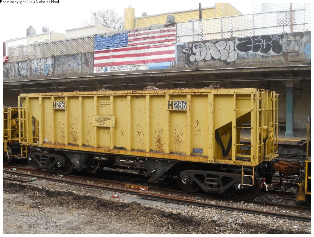 (450k, 1044x788)<br><b>Country:</b> United States<br><b>City:</b> New York<br><b>System:</b> New York City Transit<br><b>Line:</b> BMT Sea Beach Line<br><b>Location:</b> Avenue U <br><b>Route:</b> Work Service<br><b>Car:</b> R-80 MoW Hopper (1983, Maxon)  286 <br><b>Photo by:</b> Nicholas Noel<br><b>Date:</b> 3/15/2013<br><b>Viewed (this week/total):</b> 0 / 920