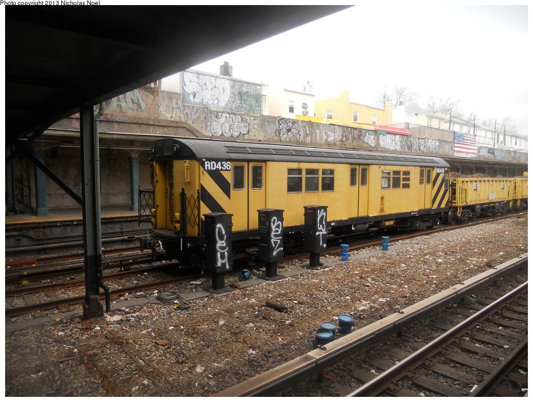 (416k, 1044x788)<br><b>Country:</b> United States<br><b>City:</b> New York<br><b>System:</b> New York City Transit<br><b>Line:</b> BMT Sea Beach Line<br><b>Location:</b> Avenue U <br><b>Route:</b> Work Service<br><b>Car:</b> R-161 Rider Car (ex-R-33)  RD436 <br><b>Photo by:</b> Nicholas Noel<br><b>Date:</b> 3/15/2013<br><b>Viewed (this week/total):</b> 1 / 1031