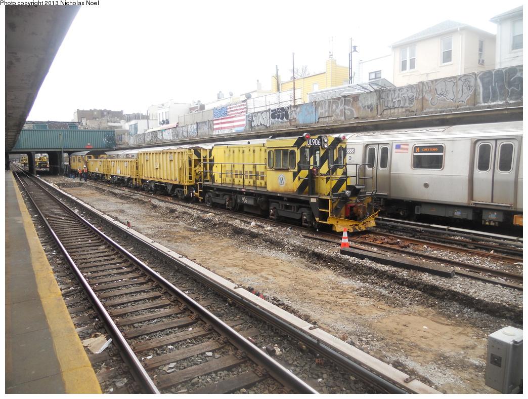 (433k, 1044x788)<br><b>Country:</b> United States<br><b>City:</b> New York<br><b>System:</b> New York City Transit<br><b>Line:</b> BMT Sea Beach Line<br><b>Location:</b> Avenue U <br><b>Route:</b> Work Service<br><b>Car:</b> R-120 Locomotive  906 <br><b>Photo by:</b> Nicholas Noel<br><b>Date:</b> 3/15/2013<br><b>Viewed (this week/total):</b> 2 / 984
