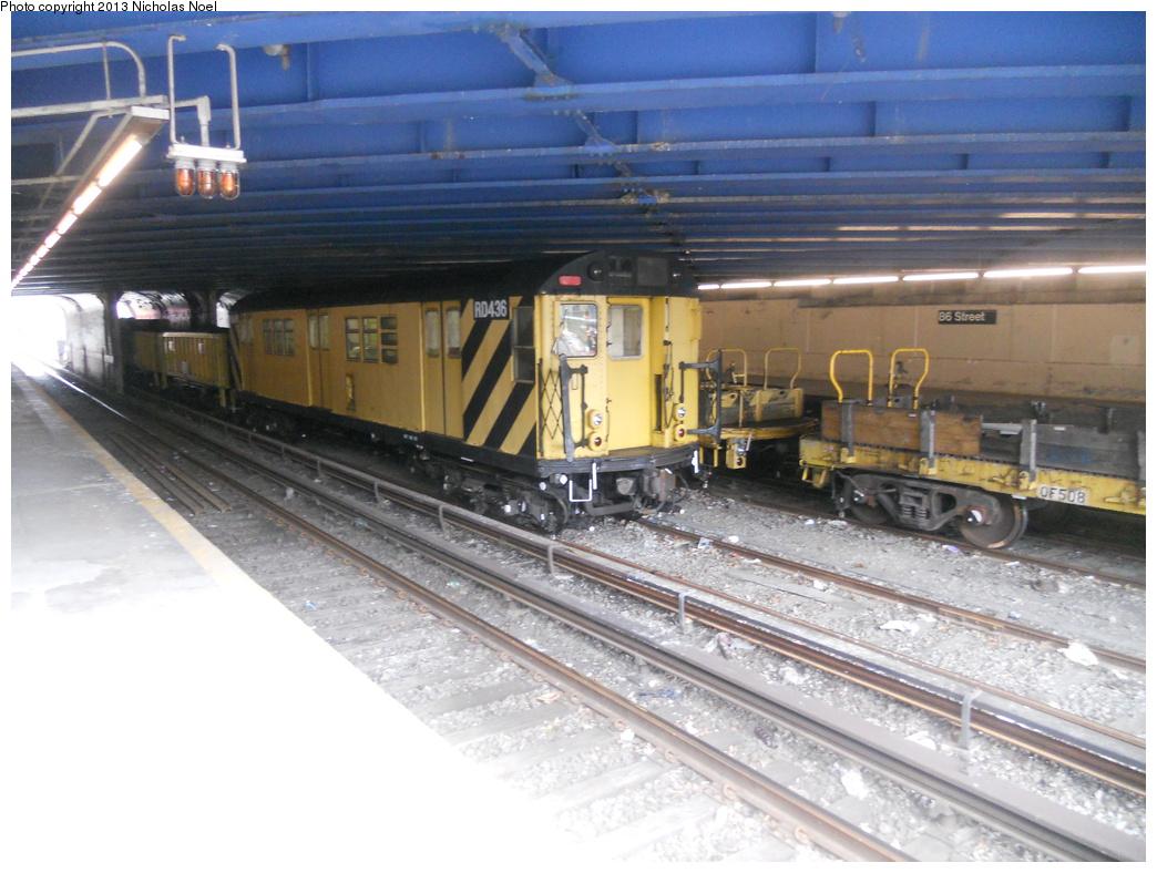 (356k, 1044x788)<br><b>Country:</b> United States<br><b>City:</b> New York<br><b>System:</b> New York City Transit<br><b>Line:</b> BMT Sea Beach Line<br><b>Location:</b> 86th Street <br><b>Route:</b> Work Service<br><b>Car:</b> R-161 Rider Car (ex-R-33)  RD436 <br><b>Photo by:</b> Nicholas Noel<br><b>Date:</b> 3/15/2013<br><b>Viewed (this week/total):</b> 2 / 945