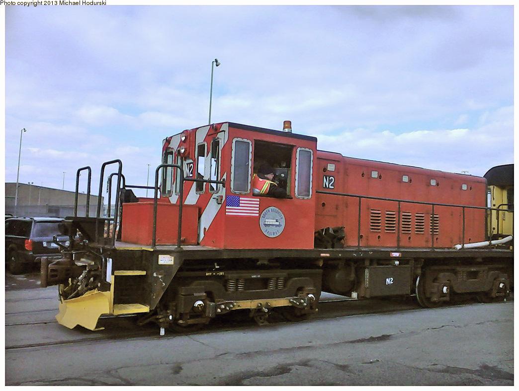 (284k, 1044x788)<br><b>Country:</b> United States<br><b>City:</b> New York<br><b>System:</b> New York City Transit<br><b>Line:</b> South Brooklyn Railway<br><b>Location:</b> 3rd Avenue/38th St Crossing (Gowanus) (SBK)<br><b>Car:</b> R-47 (SBK) Locomotive  N2 <br><b>Photo by:</b> Michael Hodurski<br><b>Date:</b> 2/6/2013<br><b>Viewed (this week/total):</b> 0 / 975
