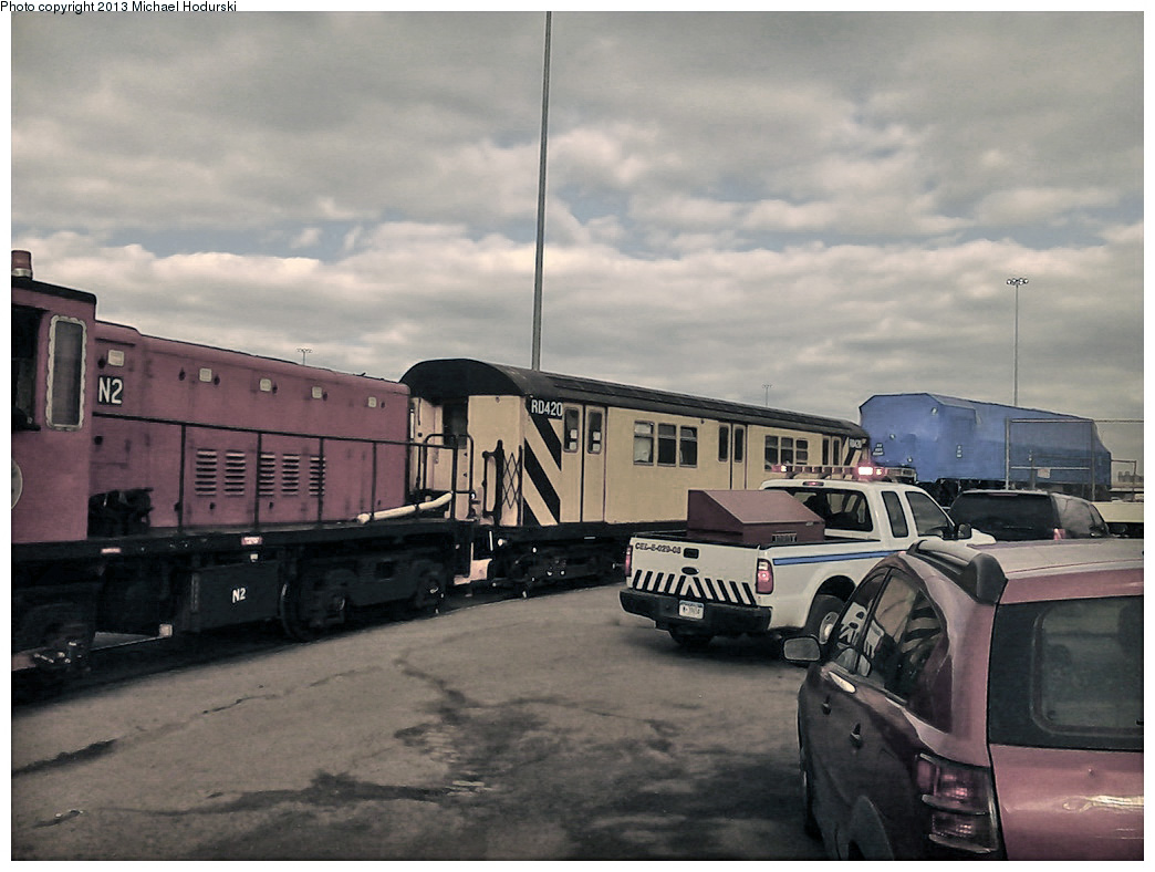 (251k, 1044x788)<br><b>Country:</b> United States<br><b>City:</b> New York<br><b>System:</b> New York City Transit<br><b>Line:</b> South Brooklyn Railway<br><b>Location:</b> 3rd Avenue/38th St Crossing (Gowanus) (SBK)<br><b>Car:</b> R-161 Rider Car (ex-R-33)  RD420 <br><b>Photo by:</b> Michael Hodurski<br><b>Date:</b> 2/6/2013<br><b>Viewed (this week/total):</b> 2 / 801