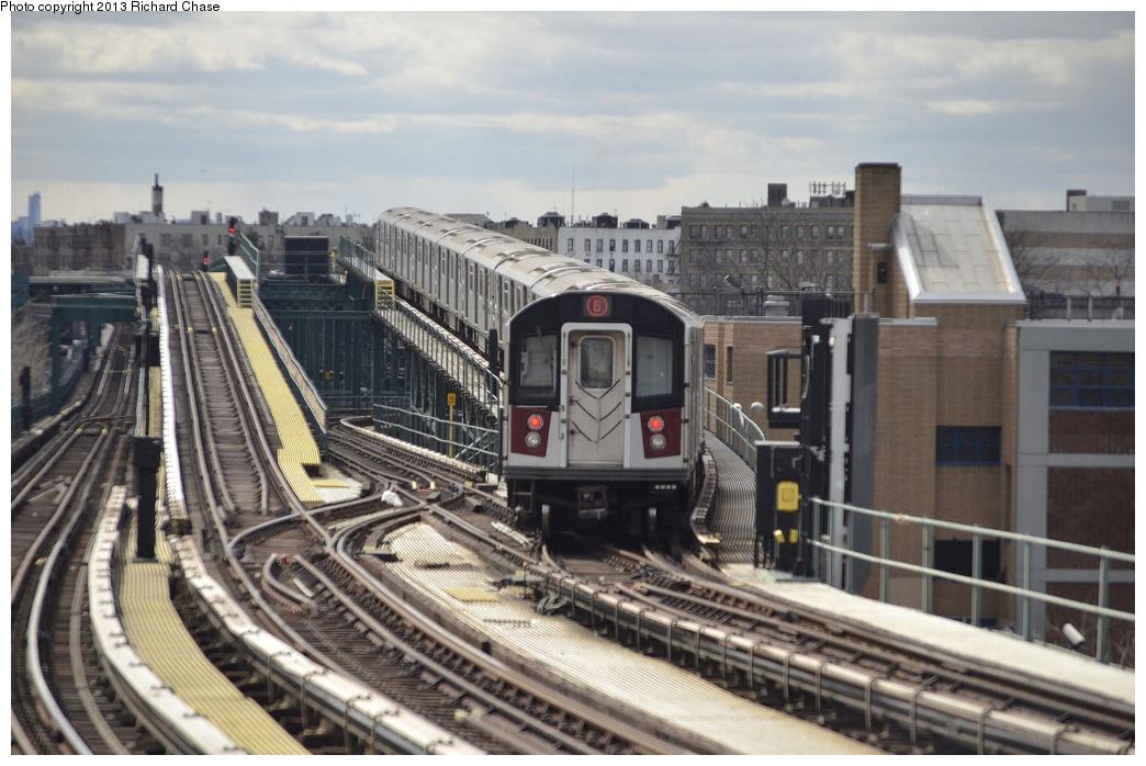 (340k, 1044x698)<br><b>Country:</b> United States<br><b>City:</b> New York<br><b>System:</b> New York City Transit<br><b>Line:</b> IRT Pelham Line<br><b>Location:</b> Middletown Road <br><b>Route:</b> 6<br><b>Car:</b> R-142 or R-142A (Number Unknown)  <br><b>Photo by:</b> Richard Chase<br><b>Date:</b> 3/22/2013<br><b>Viewed (this week/total):</b> 0 / 1048