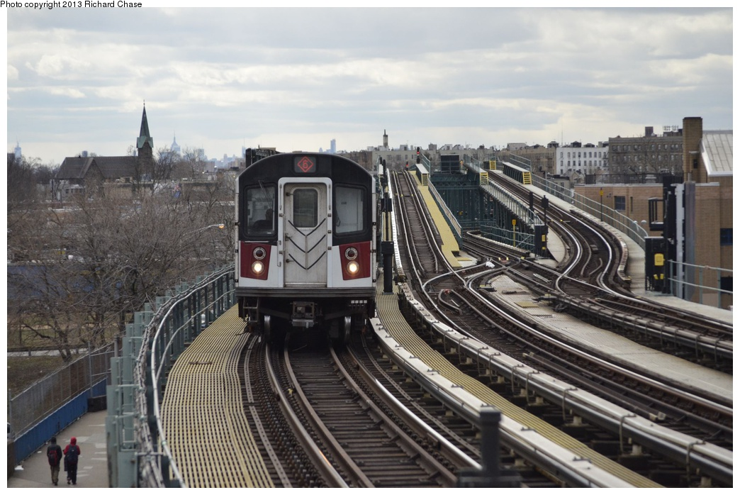 (326k, 1044x698)<br><b>Country:</b> United States<br><b>City:</b> New York<br><b>System:</b> New York City Transit<br><b>Line:</b> IRT Pelham Line<br><b>Location:</b> Middletown Road <br><b>Route:</b> 6<br><b>Car:</b> R-142 or R-142A (Number Unknown)  <br><b>Photo by:</b> Richard Chase<br><b>Date:</b> 3/22/2013<br><b>Viewed (this week/total):</b> 1 / 1031