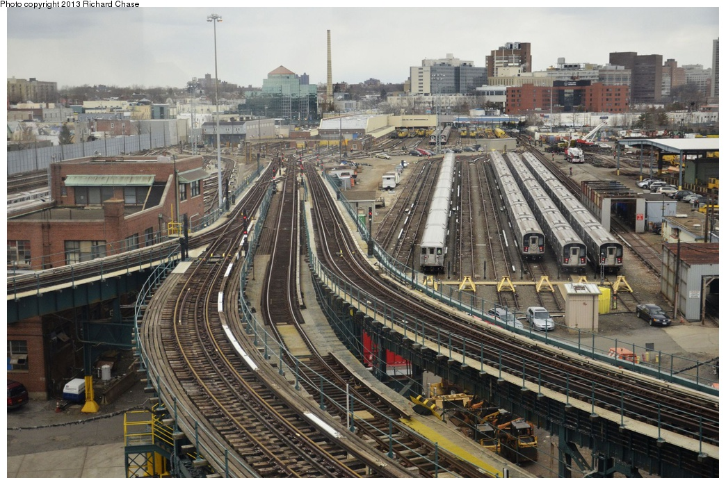 (359k, 1044x698)<br><b>Country:</b> United States<br><b>City:</b> New York<br><b>System:</b> New York City Transit<br><b>Location:</b> Westchester Yard<br><b>Photo by:</b> Richard Chase<br><b>Date:</b> 3/22/2013<br><b>Notes:</b> Note R-62A #6 trainset in yard<br><b>Viewed (this week/total):</b> 0 / 1157