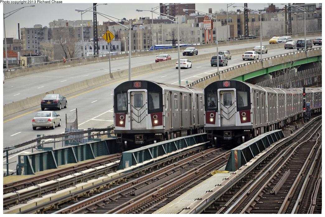 (378k, 1044x698)<br><b>Country:</b> United States<br><b>City:</b> New York<br><b>System:</b> New York City Transit<br><b>Line:</b> IRT Pelham Line<br><b>Location:</b> Whitlock Avenue <br><b>Route:</b> 6<br><b>Car:</b> R-142 or R-142A (Number Unknown)  <br><b>Photo by:</b> Richard Chase<br><b>Date:</b> 3/22/2013<br><b>Viewed (this week/total):</b> 7 / 1771