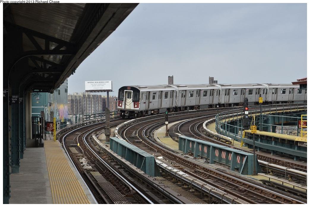 (332k, 1044x698)<br><b>Country:</b> United States<br><b>City:</b> New York<br><b>System:</b> New York City Transit<br><b>Line:</b> IRT Pelham Line<br><b>Location:</b> Whitlock Avenue <br><b>Route:</b> 6<br><b>Car:</b> R-142A (Primary Order, Kawasaki, 1999-2002)  7360 <br><b>Photo by:</b> Richard Chase<br><b>Date:</b> 3/22/2013<br><b>Viewed (this week/total):</b> 1 / 1175