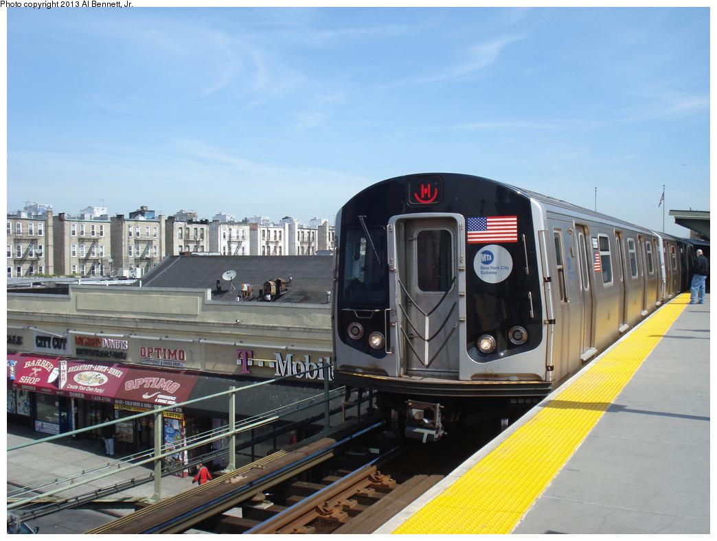 (317k, 1044x788)<br><b>Country:</b> United States<br><b>City:</b> New York<br><b>System:</b> New York City Transit<br><b>Line:</b> BMT Nassau Street/Jamaica Line<br><b>Location:</b> Myrtle Avenue <br><b>Route:</b> M<br><b>Car:</b> R-160A (Option 2) (Alstom, 2009, 4-car sets)  9966 <br><b>Photo by:</b> Al Bennett, Jr.<br><b>Date:</b> 4/4/2013<br><b>Viewed (this week/total):</b> 0 / 907
