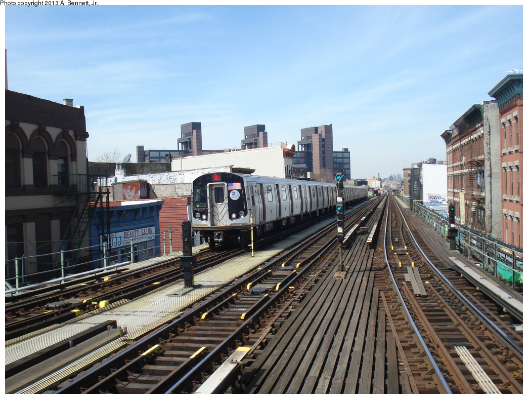 (391k, 1044x788)<br><b>Country:</b> United States<br><b>City:</b> New York<br><b>System:</b> New York City Transit<br><b>Line:</b> BMT Nassau Street/Jamaica Line<br><b>Location:</b> Myrtle Avenue <br><b>Route:</b> M<br><b>Car:</b> R-160A-1 (Alstom, 2005-2008, 4 car sets)  8464 <br><b>Photo by:</b> Al Bennett, Jr.<br><b>Date:</b> 4/4/2013<br><b>Viewed (this week/total):</b> 3 / 1105