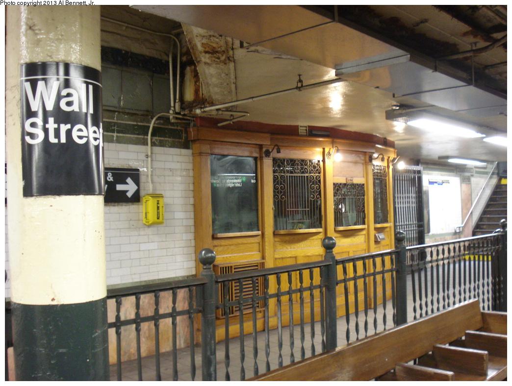 (361k, 1044x788)<br><b>Country:</b> United States<br><b>City:</b> New York<br><b>System:</b> New York City Transit<br><b>Line:</b> IRT East Side Line<br><b>Location:</b> Wall Street <br><b>Photo by:</b> Al Bennett, Jr.<br><b>Date:</b> 4/4/2013<br><b>Viewed (this week/total):</b> 7 / 972