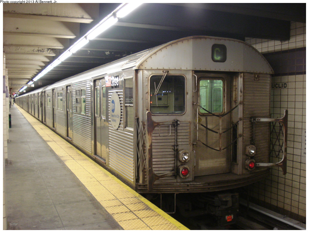 (342k, 1044x788)<br><b>Country:</b> United States<br><b>City:</b> New York<br><b>System:</b> New York City Transit<br><b>Line:</b> IND Fulton Street Line<br><b>Location:</b> Euclid Avenue <br><b>Route:</b> C<br><b>Car:</b> R-32 (Budd, 1964)  3698 <br><b>Photo by:</b> Al Bennett, Jr.<br><b>Date:</b> 4/3/2013<br><b>Viewed (this week/total):</b> 0 / 703