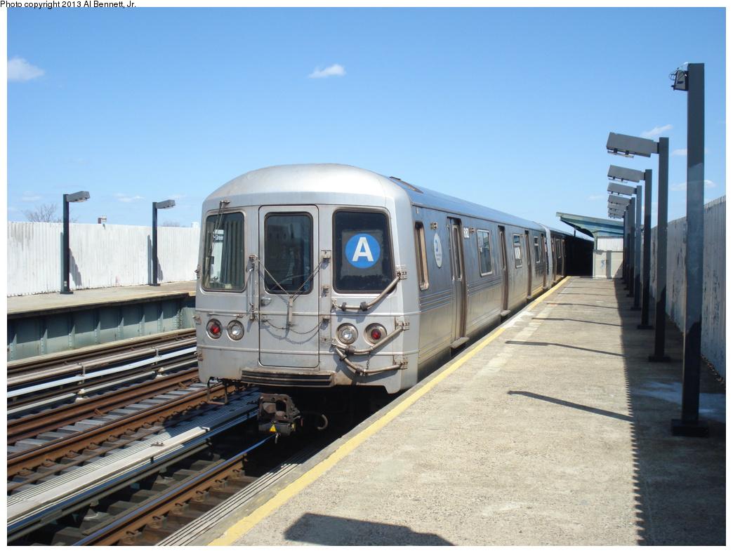 (317k, 1044x788)<br><b>Country:</b> United States<br><b>City:</b> New York<br><b>System:</b> New York City Transit<br><b>Line:</b> IND Fulton Street Line<br><b>Location:</b> 111th Street/Greenwood Avenue <br><b>Route:</b> A<br><b>Car:</b> R-46 (Pullman-Standard, 1974-75) 6162 <br><b>Photo by:</b> Al Bennett, Jr.<br><b>Date:</b> 4/3/2013<br><b>Viewed (this week/total):</b> 0 / 785